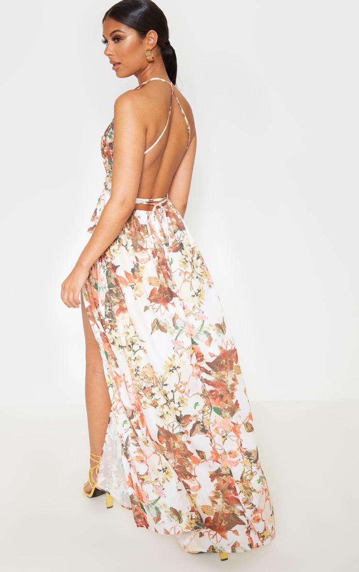 White Floral Print Chiffon Halterneck Maxi Dress 2