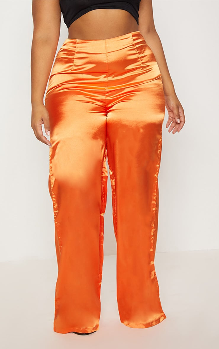 Plus Orange Satin Wide Leg Pants 2