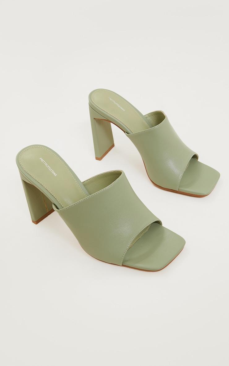 Sage Green PU Square Toe Flat Mid Heeled Mules 3