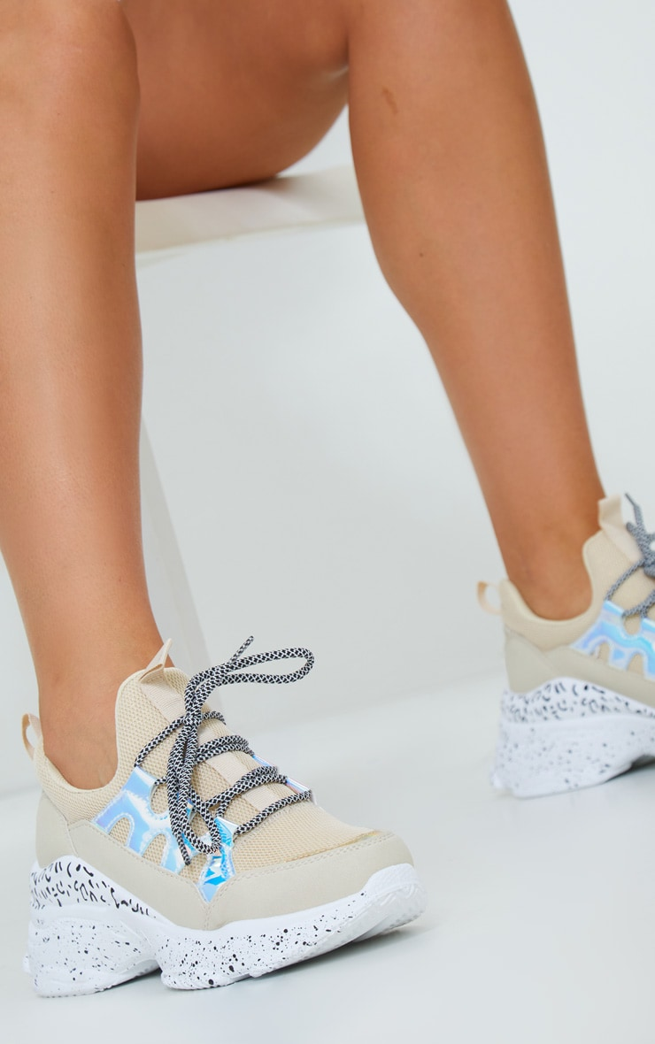 Sand Chunky Detail Sole Contrast Lace Sneakers 2