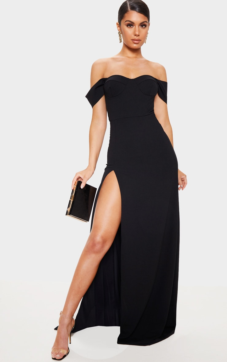 Black Cup Detail Maxi Dress 1