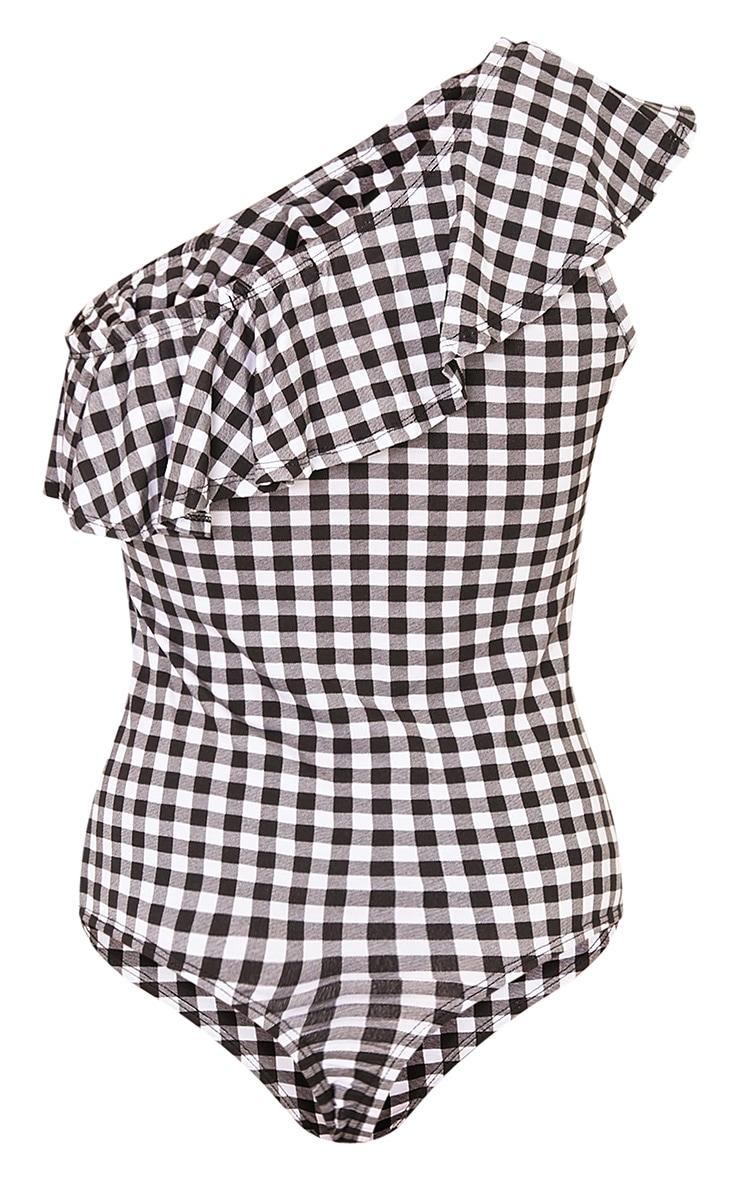 Eillish Black Gingham One Shoulder Frill Bodysuit 3