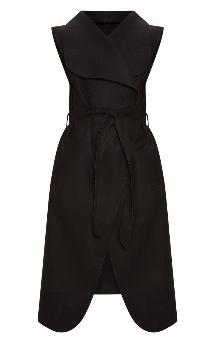 Black Sleeveless Waterfall Belt Coat 3