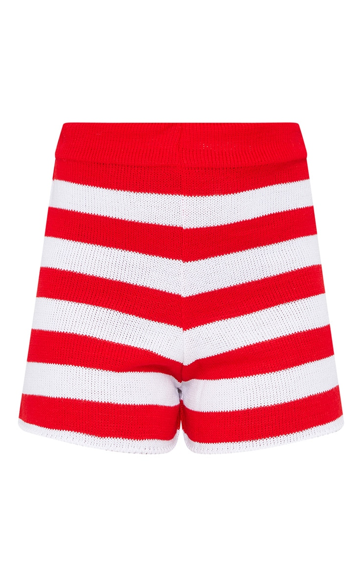 Petite Red Striped Knit Shorts 3