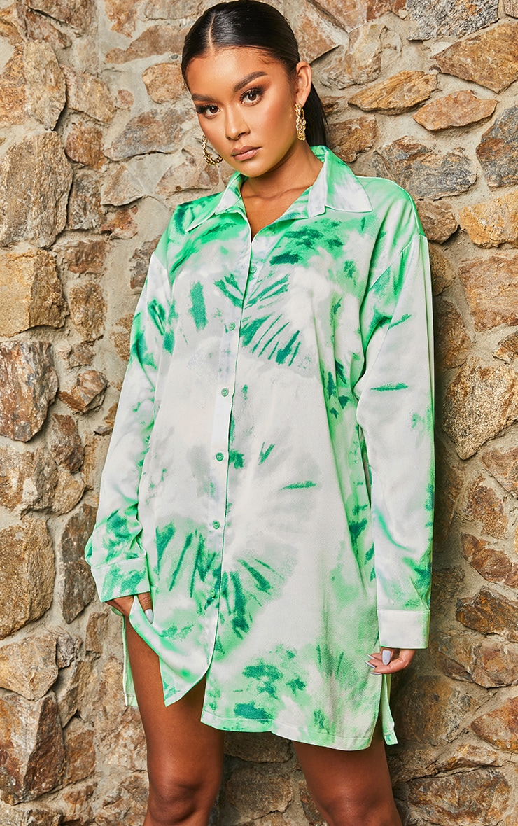 Green Tie Dye Oversized Boyfriend Shirt Dress 5