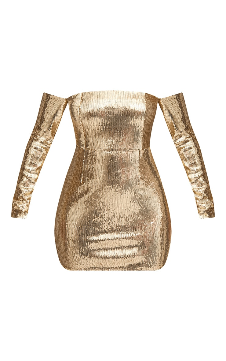 Gold Sequin Long Sleeve Bardot Bodycon Dress 4
