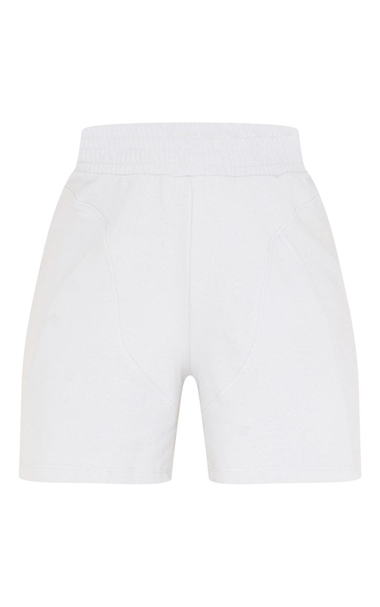 Grey Deep Waist Band Seam Detail Ribbed Shorts 6