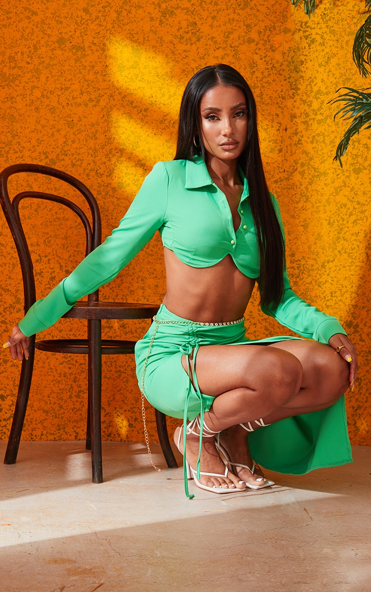 Bright Green Woven Button Front Underbust Detail Cropped Shirt 4