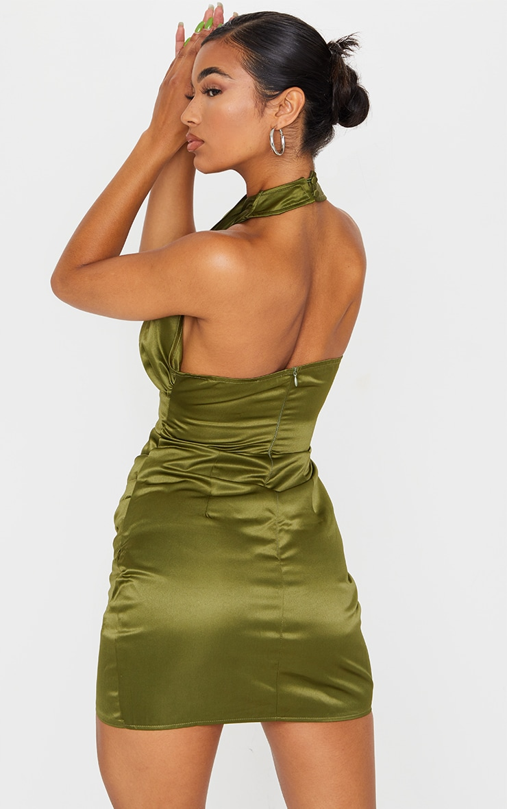 Olive Satin Halterneck Lace Up Ruched Bodycon Dress 2