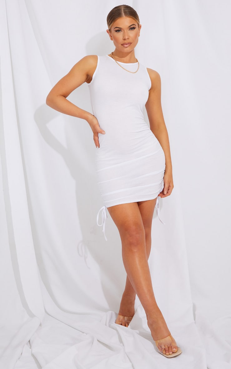 White Ruched Side Sleeveless Bodycon Dress 3