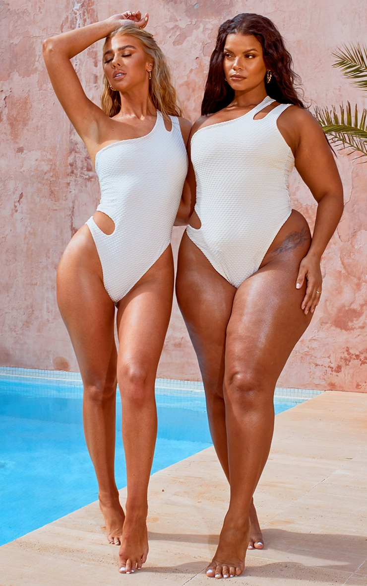 Plus Nude Waffle Texture Cut Out Swimsuit 1