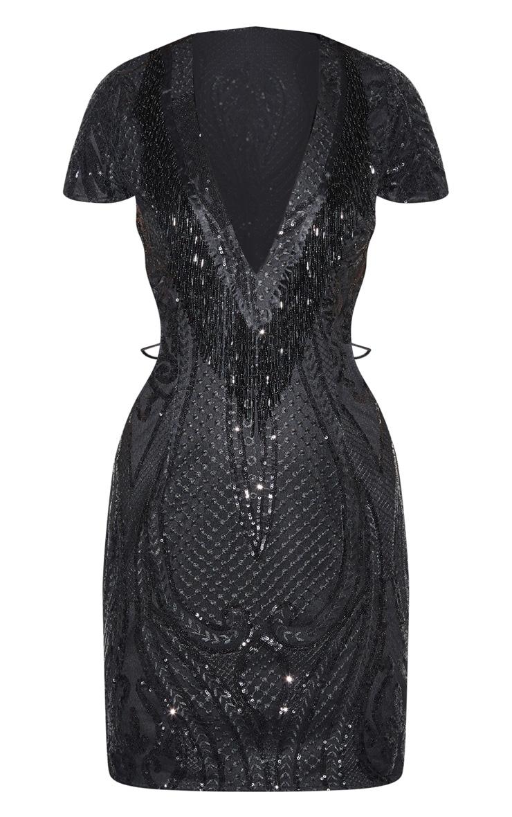 Black Sequin Bead Tassel Bodycon Dress 5