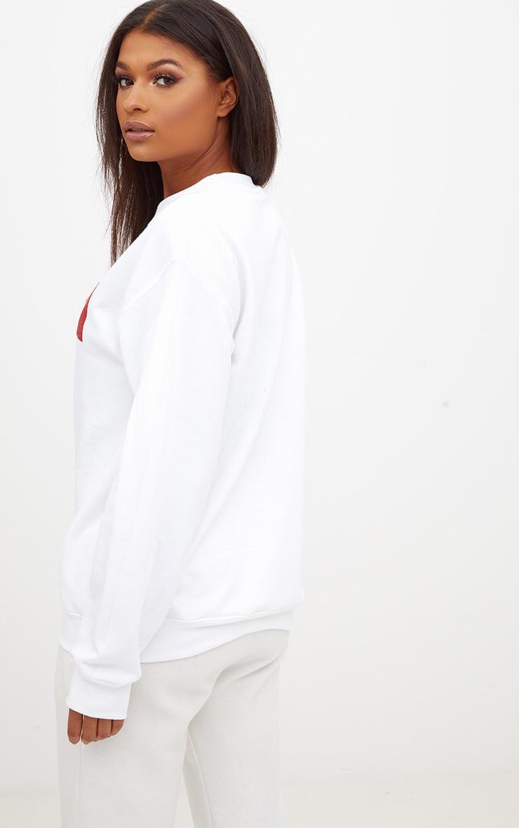White Chilled Slogan Sweater 2