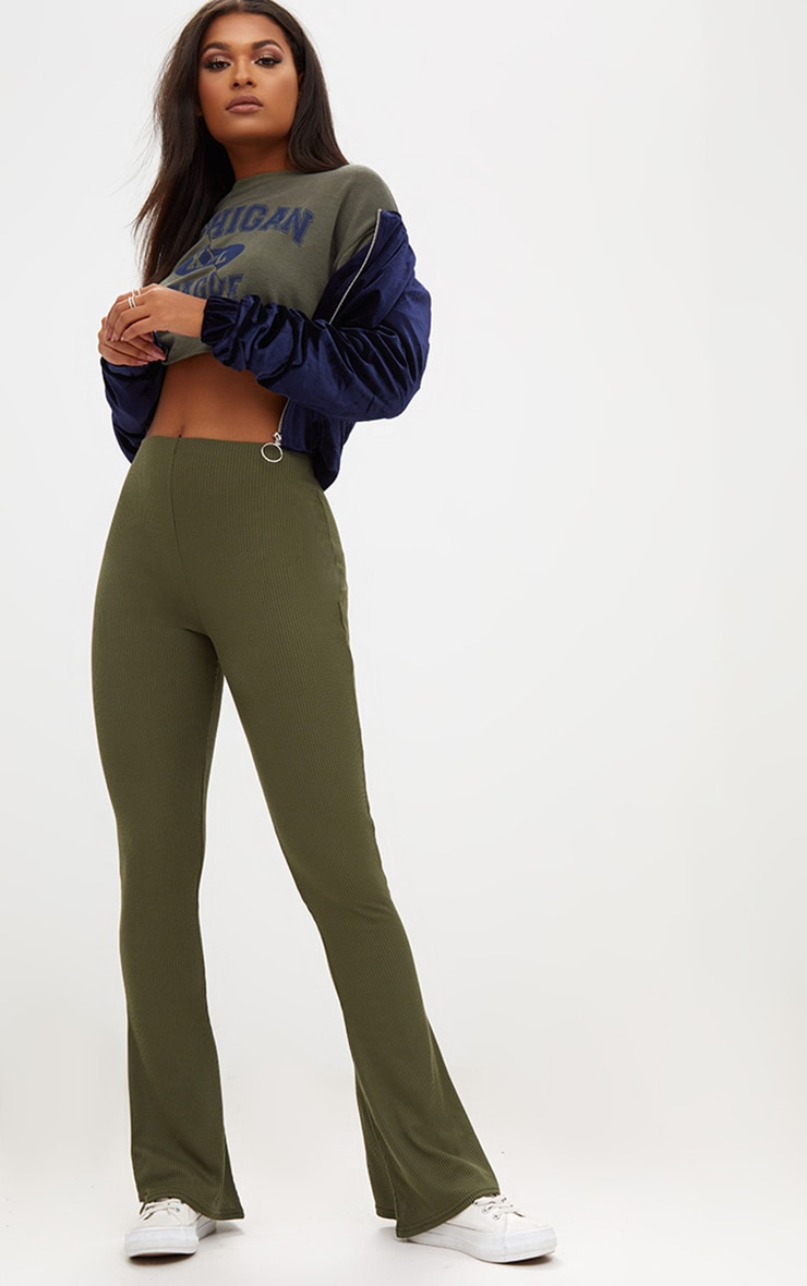 Khaki Ribbed Flared Pants 1
