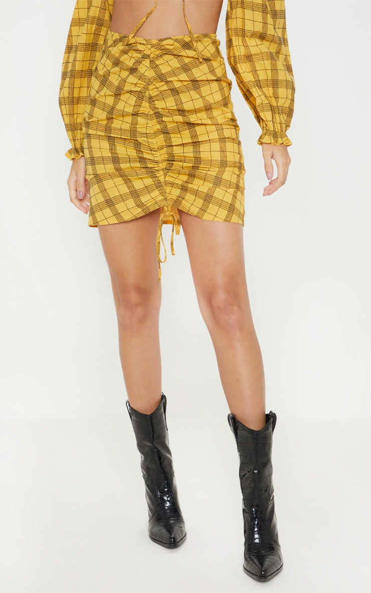 Mustard Check Print Ruched Front Mini Skirt 2