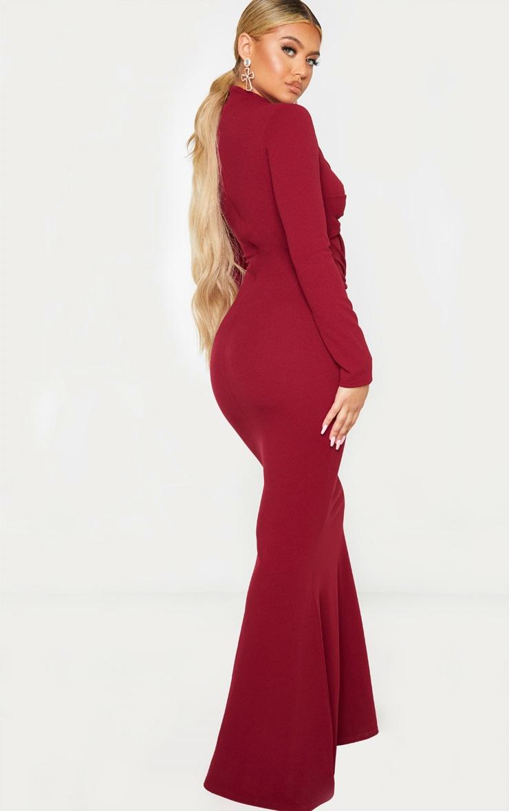 Burgundy Twist Front Long Sleeve Maxi Dress 2