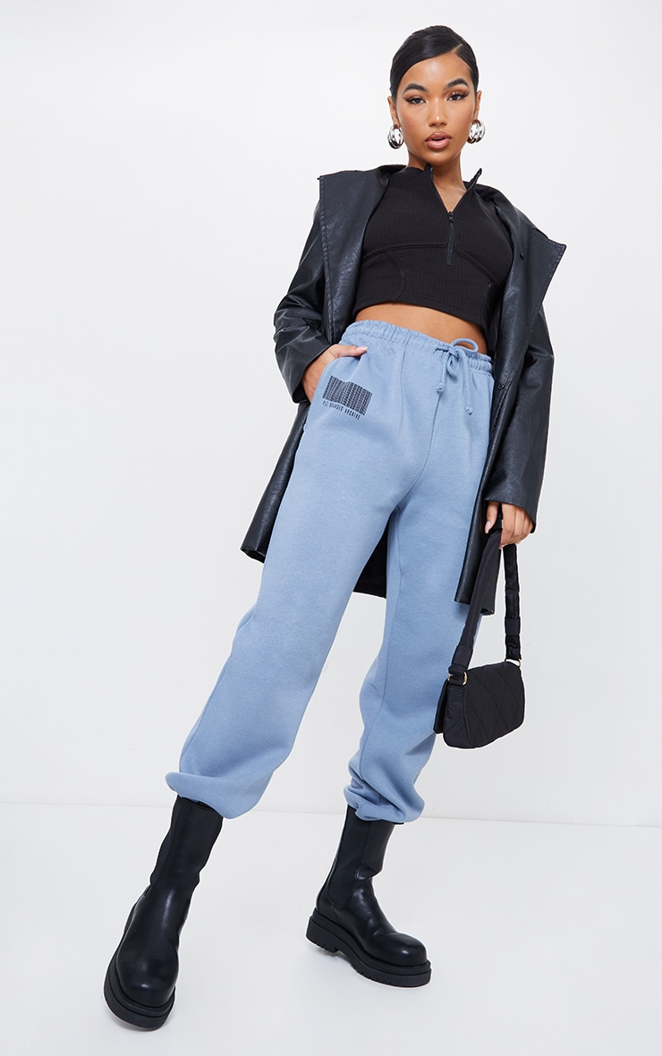 PRETTYLITTLETHING Steel Blue Barcode Joggers 1
