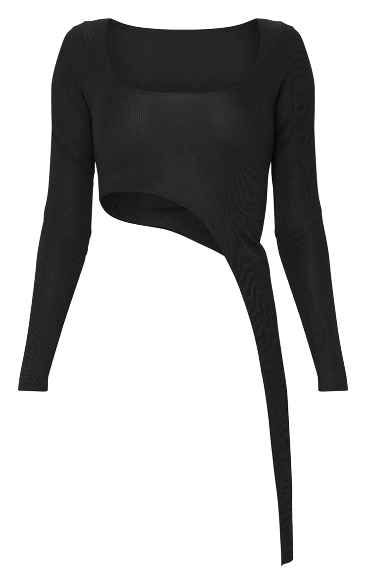 Tall Black Ribbed Asymmetric Long Sleeve Crop Top 3