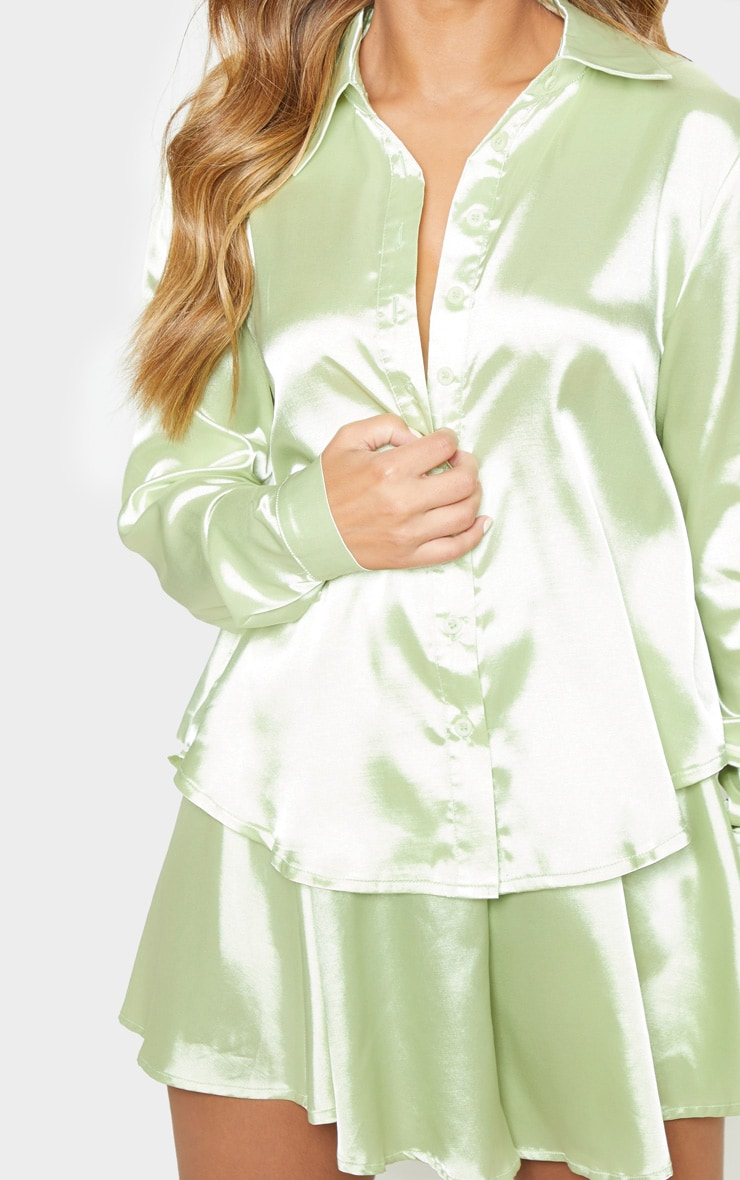 Petite Light Lime Satin Shirt 5