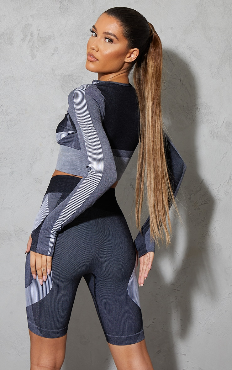 Black Seamless Color Block Marl High Neck Cropped Sports Top 2