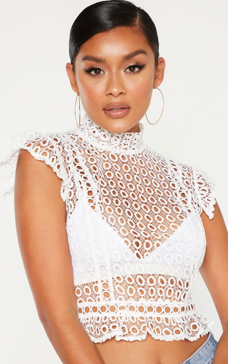 White Crochet High Neck Sleeveless Blouse 5