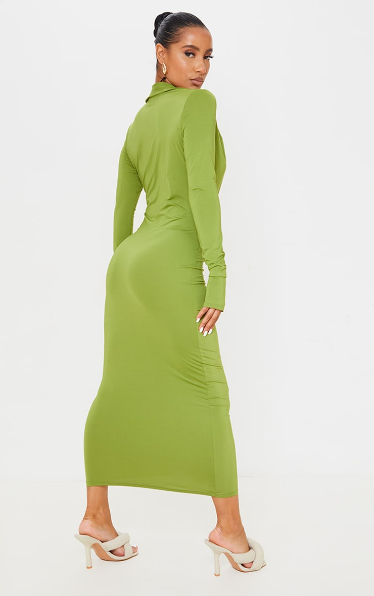 Green Slinky Ruched Button Down Midi Shirt Dress 2