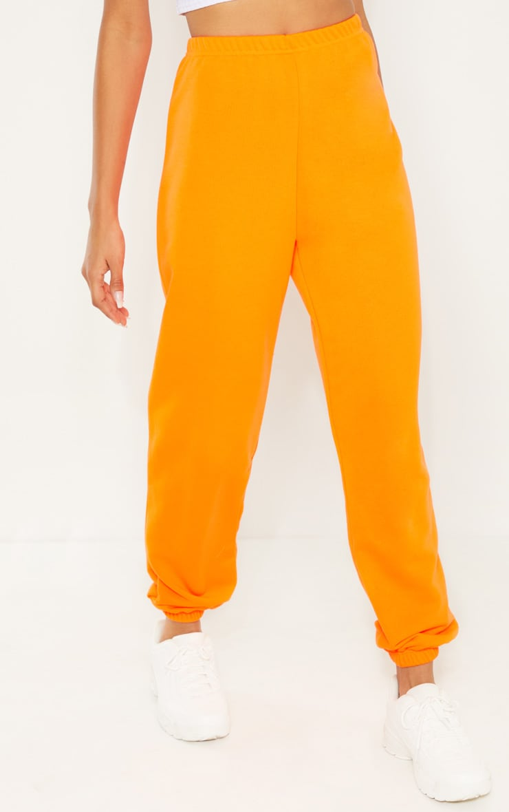 Neon Orange Basic Cuffed Hem Track Pants 2
