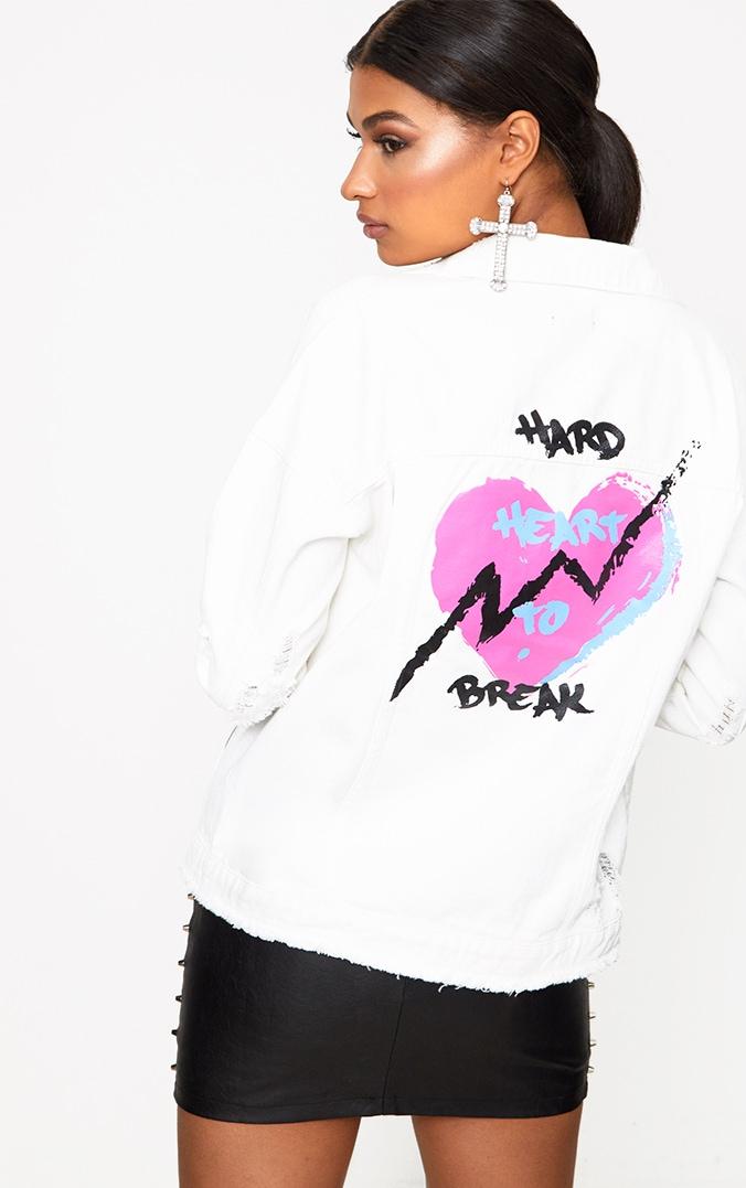 Ecru Hard Heart to Break Oversized Denim Jacket 1
