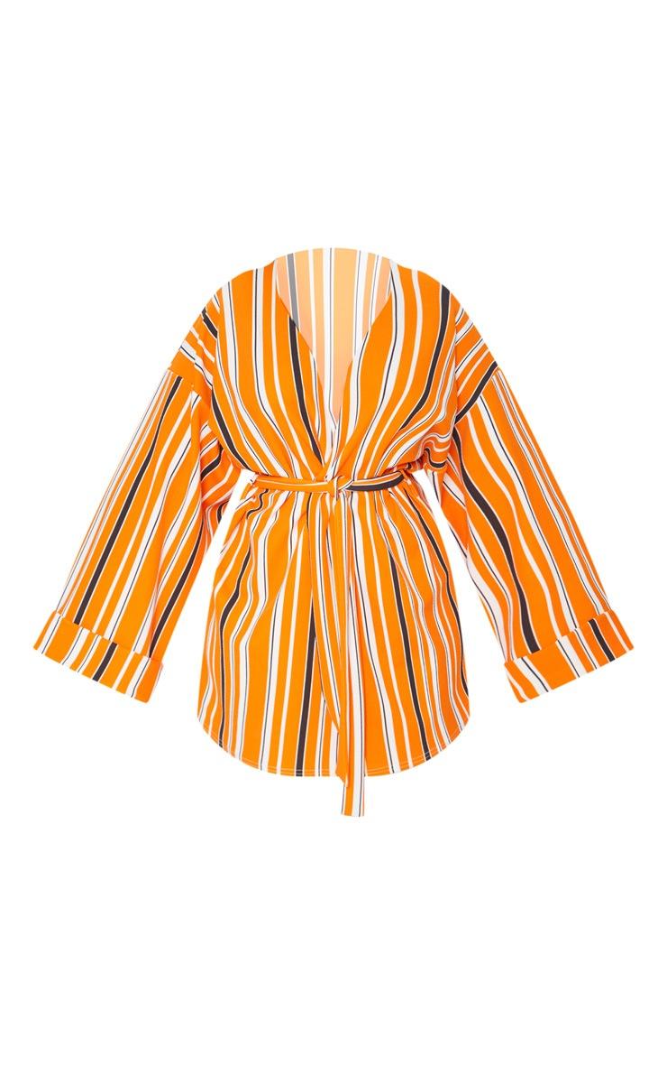 Plus Orange Striped Belted Oversized Sleeve Blazer 3