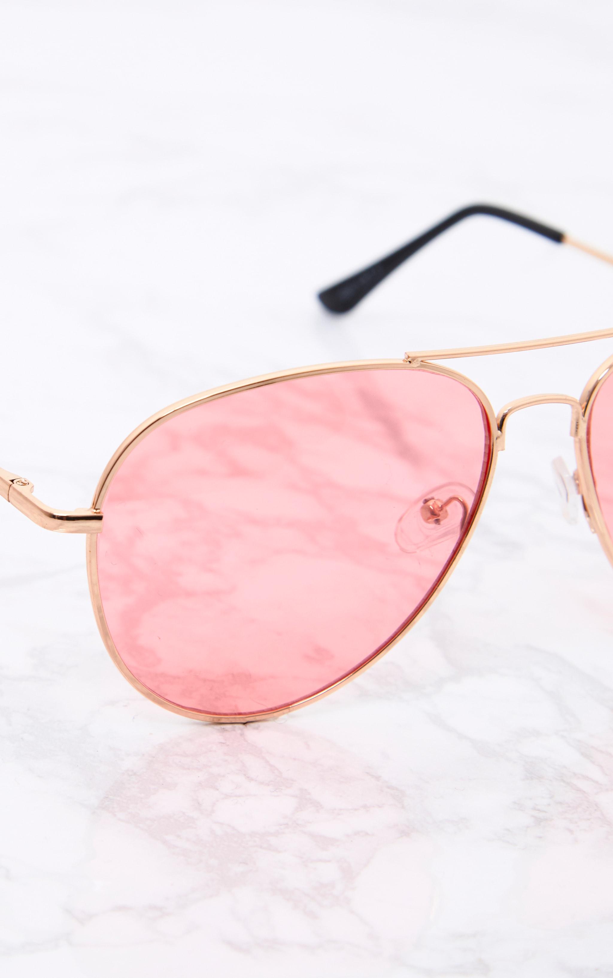 Kelie lunettes aviateur à verres teintés roses 5