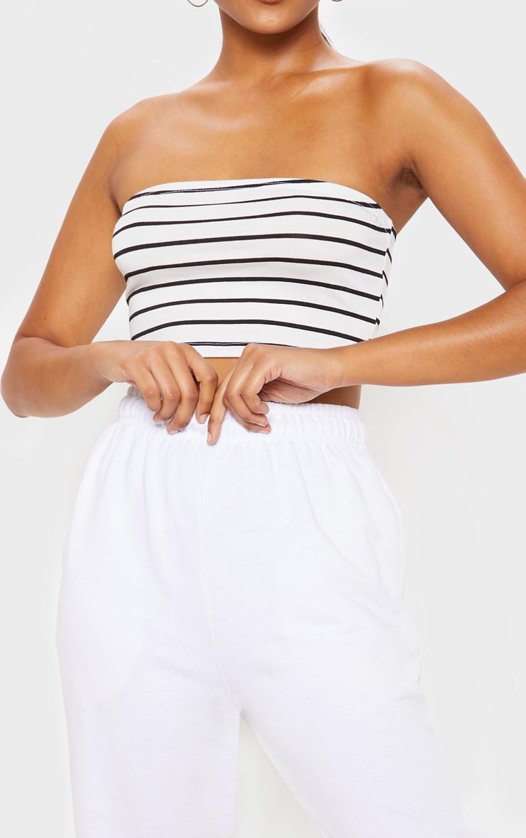 Black Stripe Printed Bandeau Crop Top 5
