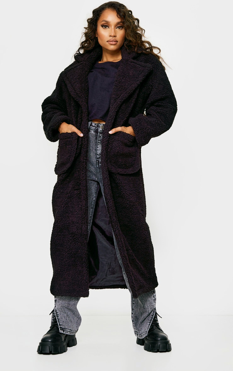 Petite Black Maxi Borg Coat 1