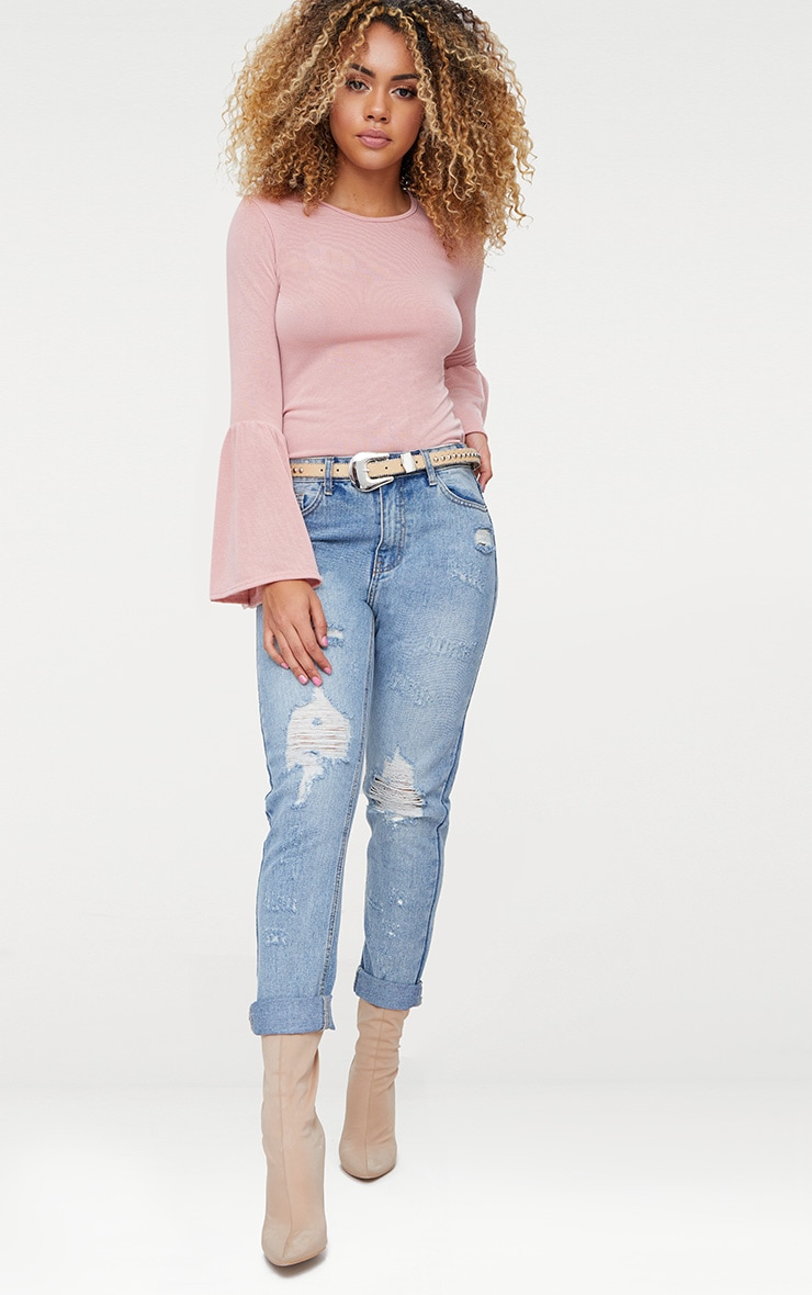 Pink Flare Sleeve Knitted Top 4