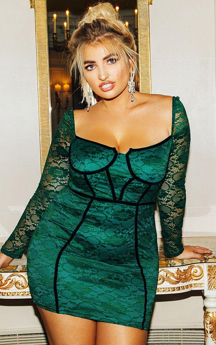 Plus Green Lace Puff Sleeve Binding Bodycon Dress 1