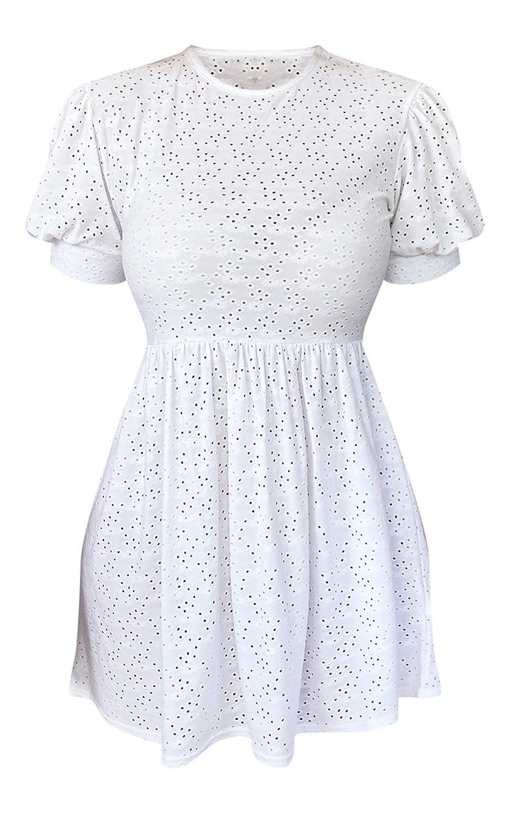 Plus White Broderie Cap Sleeve Smock Dress 5