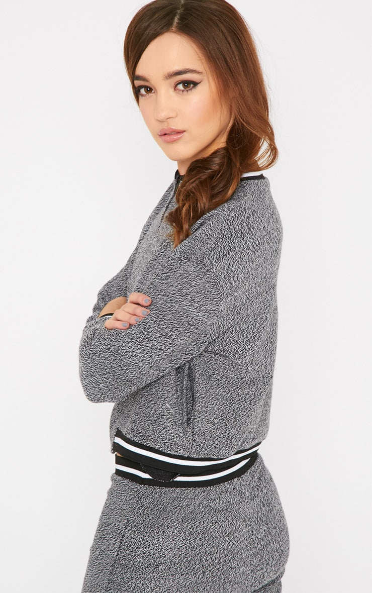 Hollie Grey Boucle Sporty Knitted Bomber 4