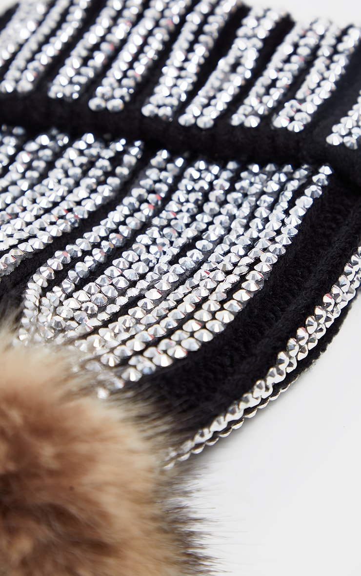 Black All Over Diamante Beanie Hat 3