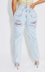 Shape Acid Blue Wash Chain Detail Ripped Bum Straight Leg Jeans 3
