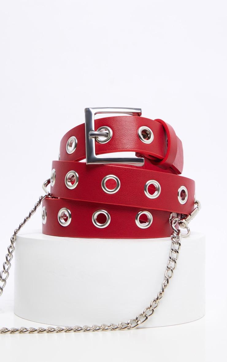 Red Eyelet Chain Belt 3