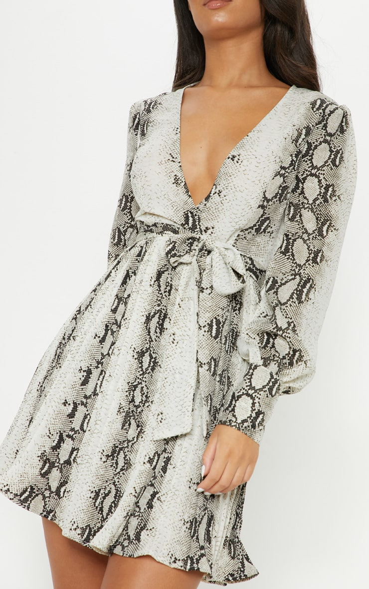 Grey Snake Print Wrap Pleated Skater Dress 5