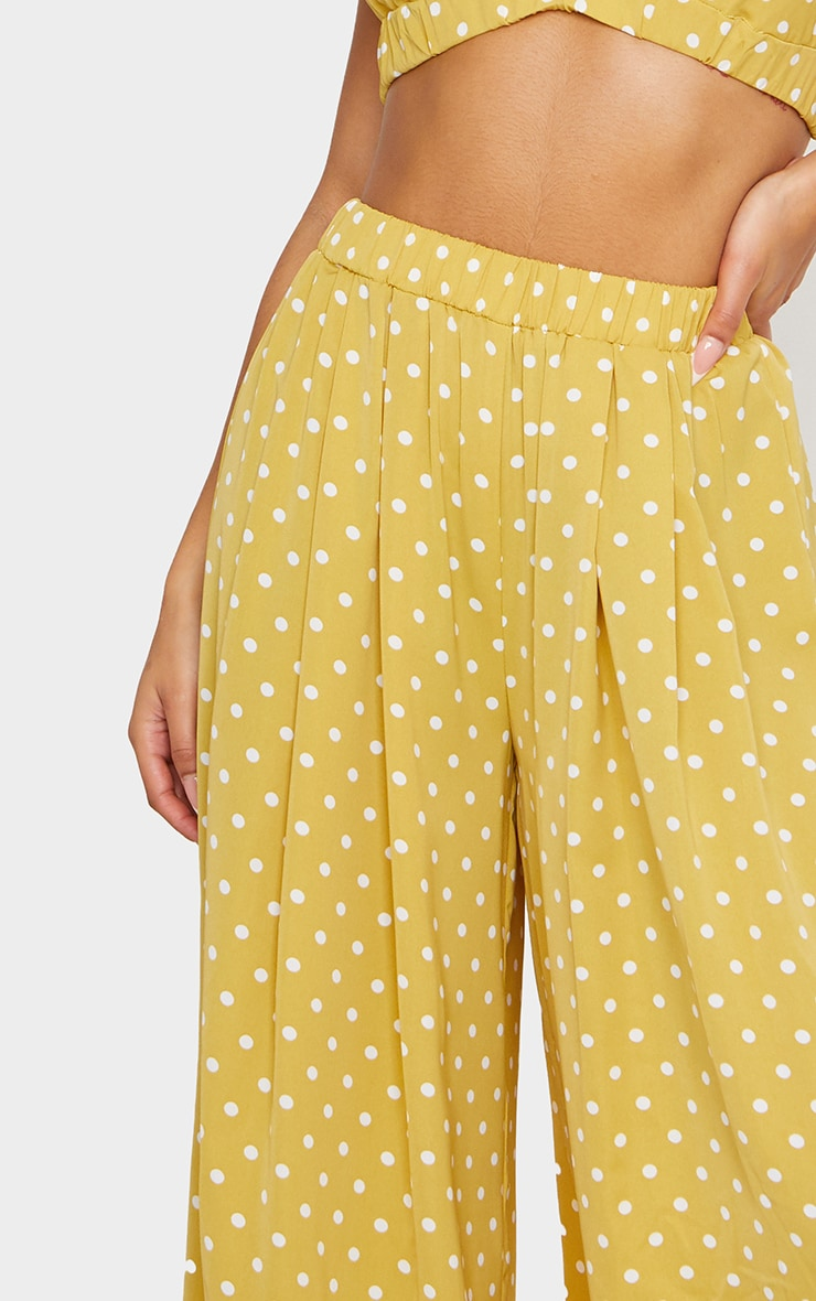 Mustard Polka Dot Print Wide Leg Trousers 4