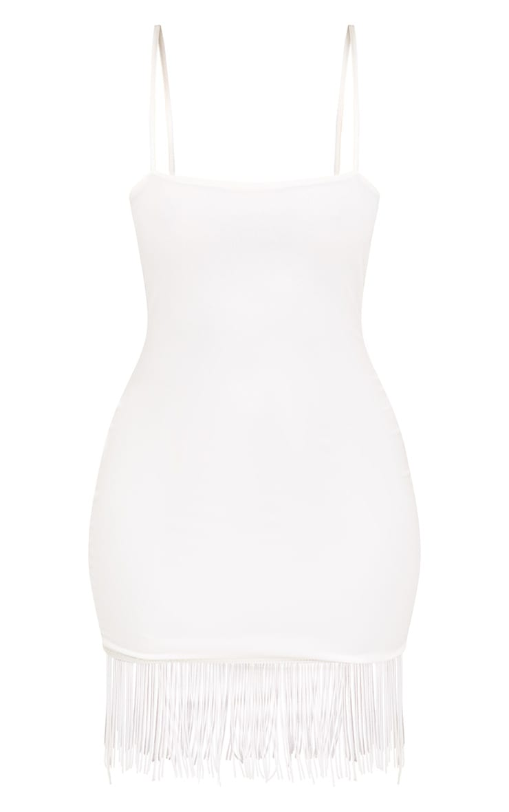 White Strappy Tassel Hem Bodycon Dress 3