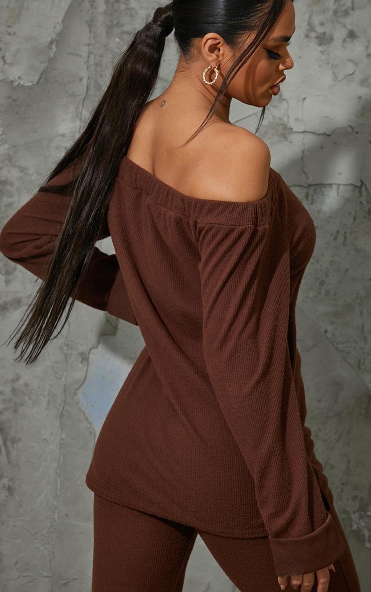 Chocolate Brown Soft Brushed Rib Bardot Sweater 2