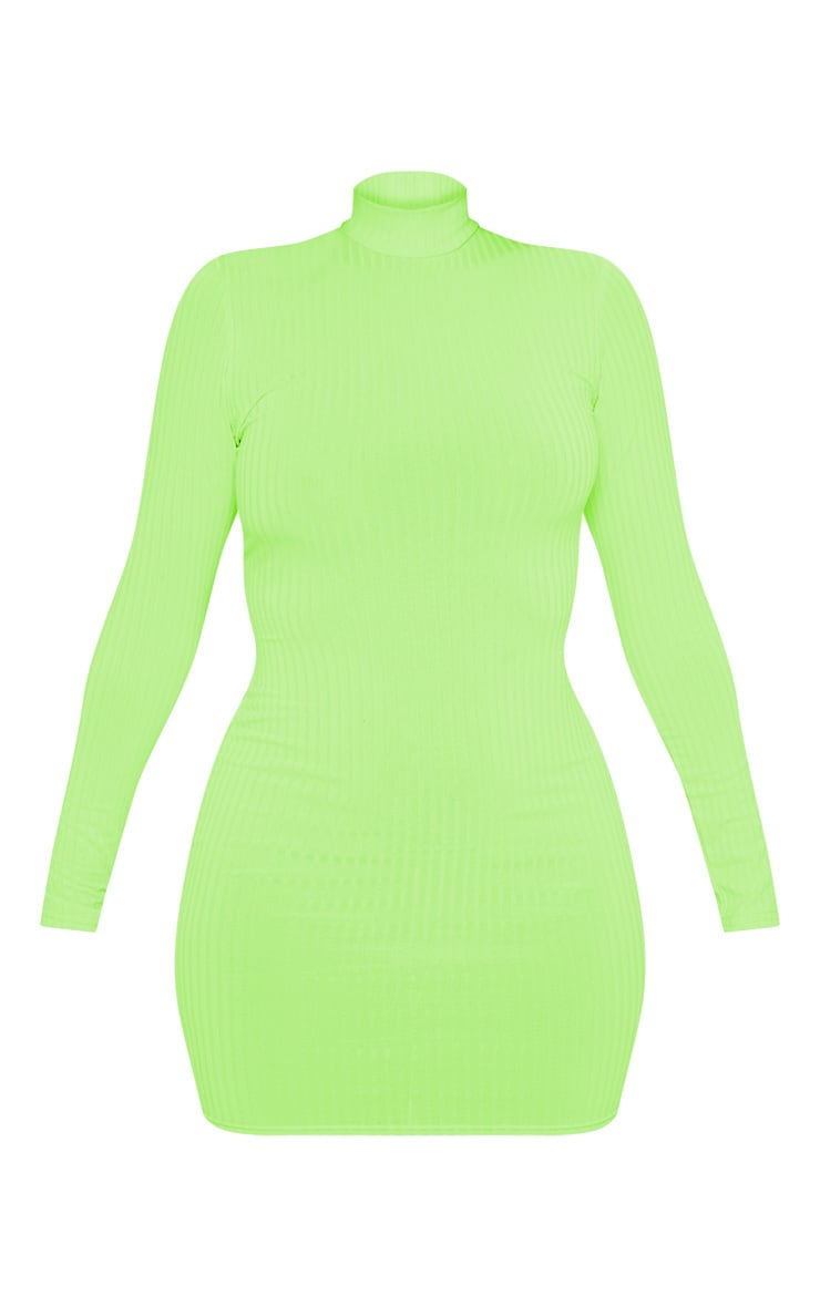 Green Neon Roll Neck Bodycon Dress 4
