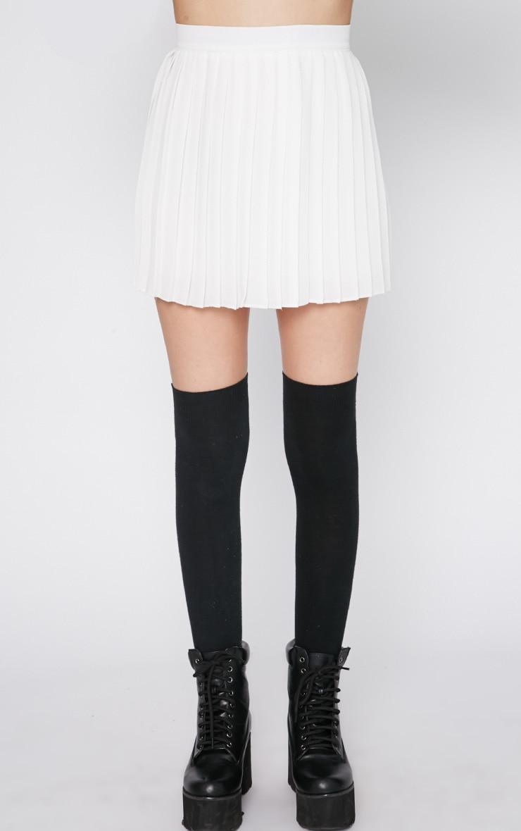 Sinopa White Pleated Mini Skirt 4