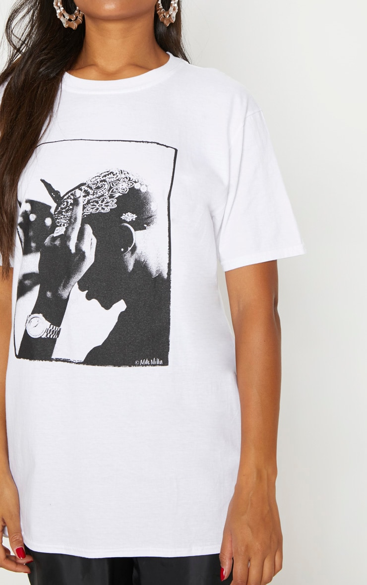 White Tupac Oversized T Shirt 5