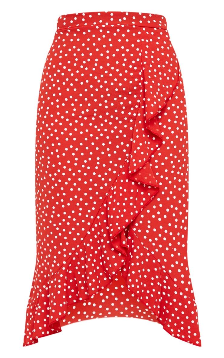 Red Polka Dot Frill Wrap Over Midi Skirt 5
