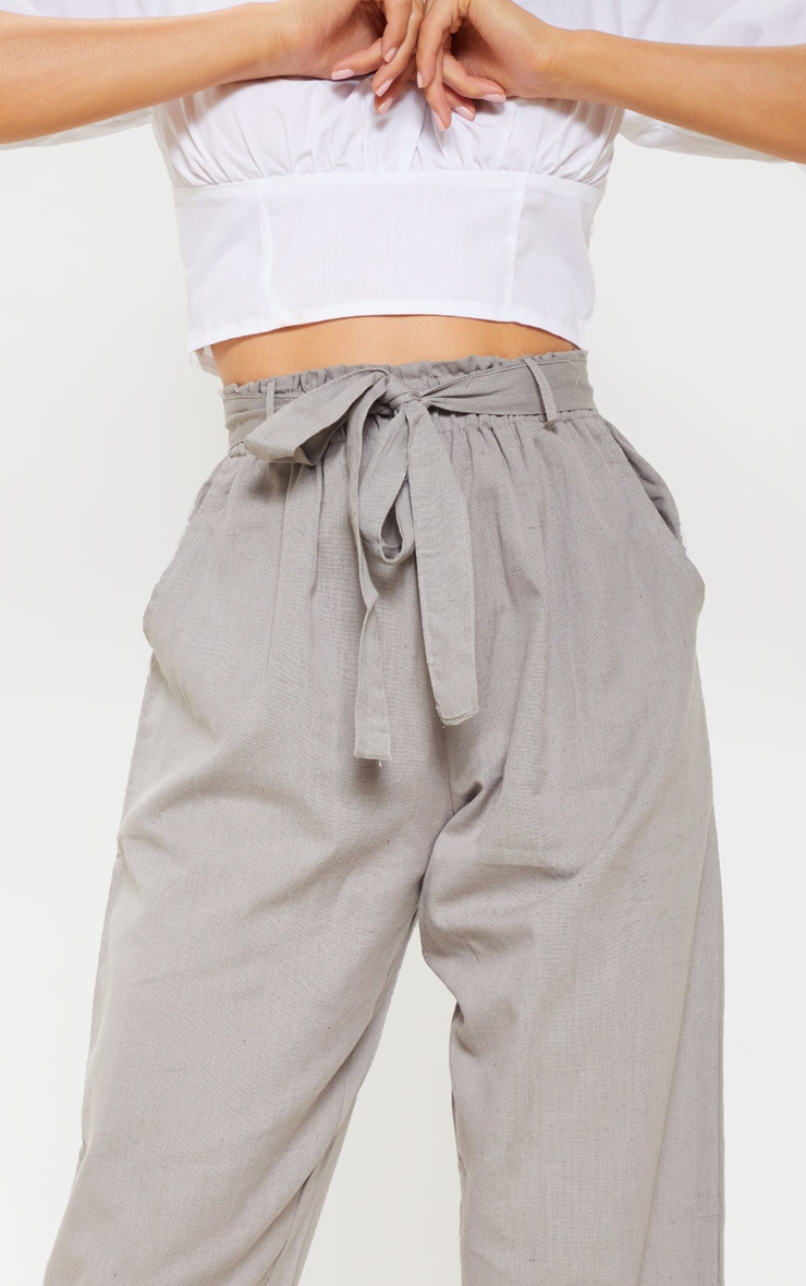 Pale Grey Paperbag Linen Feel Tie Waist Detail Pant 5