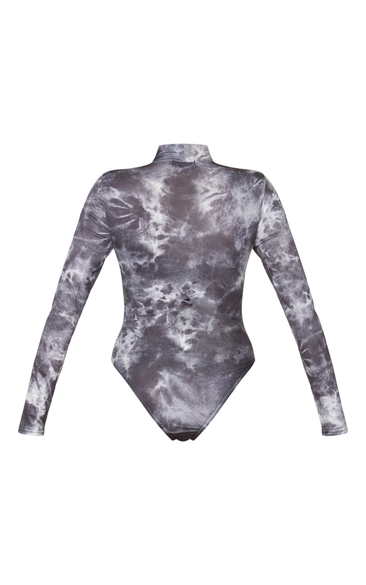 Black Jersey Long Sleeve Tie Dye Bodysuit 6