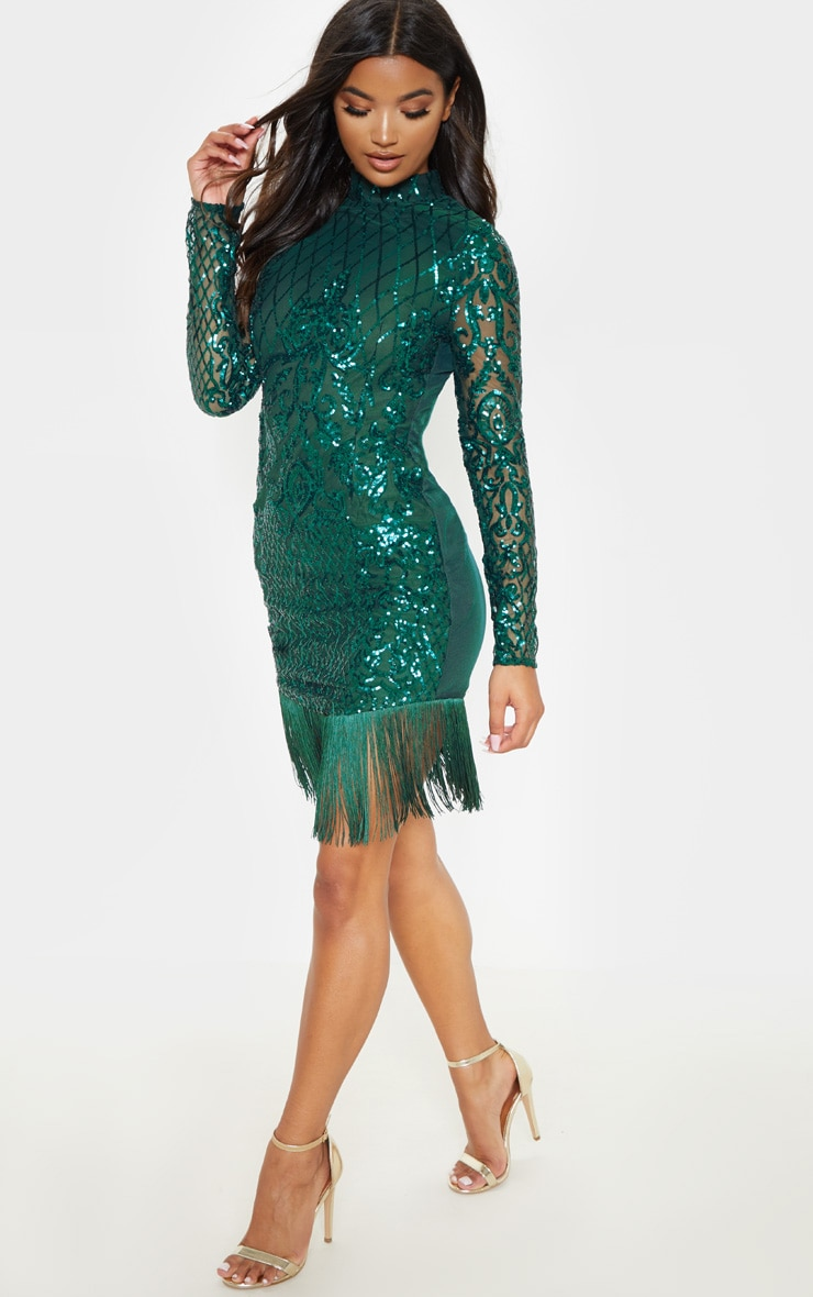 Emerald Green Sequin Long Sleeve Tassel Hem Bodycon Dress 4